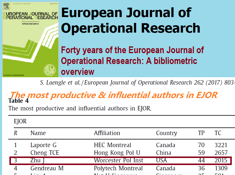 Joe Zhu is ranked #3 in 'The most productive and influential authors in EJOR' 