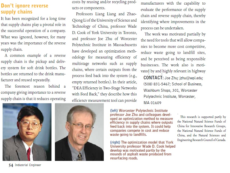 Professor Zhu's research is featured in the Industrial Engineer 
