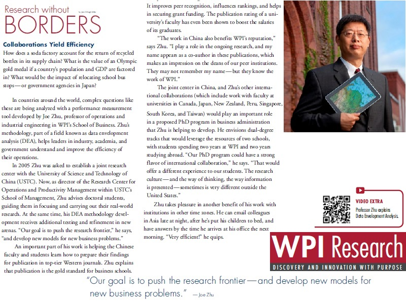 Professor Zhu's international research collaboration is featured in the 2011 WPI Research Magazine: